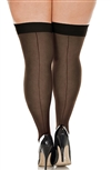Plus Size Sheer Back Seam Stockings