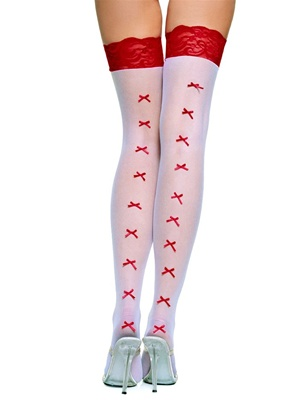 Plus Size Bow Backseam Stockings