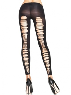 Shredded Back Opaque Footless Tights