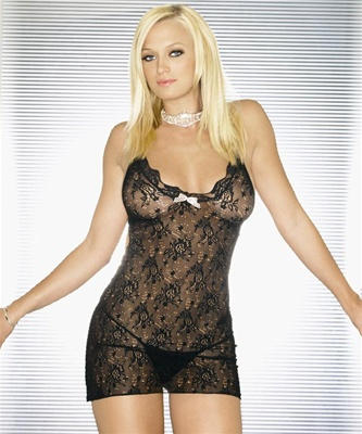 Rose Lace Chemise With Cut Out Back