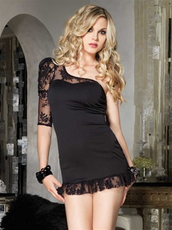 Lace Sleeve Asymmetrical Dress