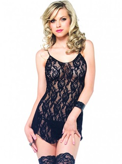 Rose lace flared chemise with g-string.