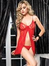Romantic Lace Open Front Babydoll And G-string
