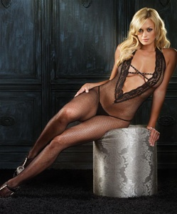 Fishnet Open Crotch Deep V Front Bodystocking