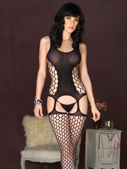 Hexagon Net Suspender Bodystocking