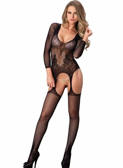 Floral Lace Open Front Suspender Bodystocking