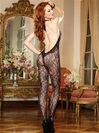 Halter Stretch Lace Crotchless Bodystocking