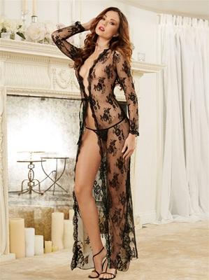 Lace Sheer Long Gown Peignoir Set