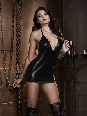 Strappy Chain Back Chemise And Choke Chain Collar