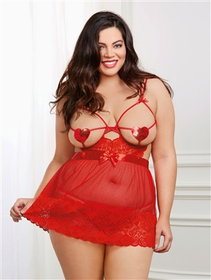 Love Is In The Air Plus Size Babydoll Set