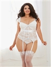 Romantic Bridal Lace Plus Size Bustier Set