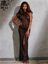 Luxurious Mesh And Lace Long Gown 2 PC Set