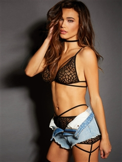 Mosaic Pattern Strappy 3 PC Bralette Set