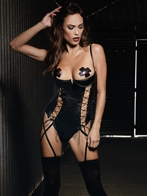 Racy Shelf Cup Faux Leather Teddy