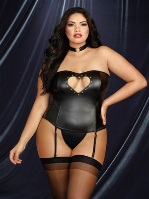 Heart Me Fetish 3 PC Plus Size Corset Set