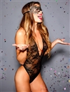 Gold Foil Print Lace Teddy With Mask