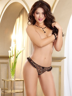 Leopard Mesh Low-Rise Crotchless Thong