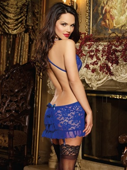Open Back Lace Garter Slip Set