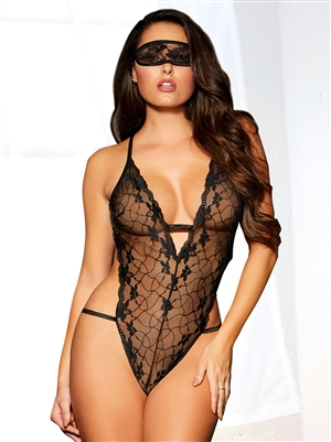 Strappy Back Halter Teddy With Mask