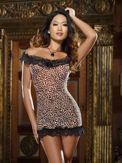 Off Shoulder Leopard Print Babydoll Set
