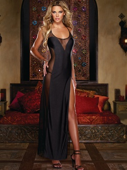 Sexy Plunging Microfiber Illusion Gown 2 PC Set