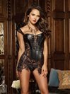 Beyoncé Faux Leather And Venice Lace  Corset Set