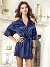 Satin Cut-Out Cold Shoulder Kimono Robe