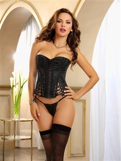 Slimming Embroidered Satin Corset Set