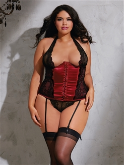 Plus Size Slimming Scalloped Lace Corset 2 PC Set