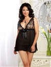 Plus Size Glamourous Bridal Babydoll And Bow Back Panty
