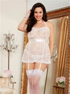 Plus Size Lace Apron Babydoll And Heart Cut-Out Panties