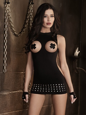 Studded Open Cup Dress And Fingerless Gloves