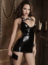 Faux Leather Open Back Spanking Chemise 3 PC Set