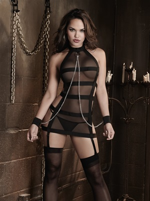 Strappy Bandage Set With Chain Wrist Restraints