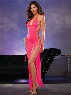 SexyLong Halter Dress With Daring Open Lace-Up Sides