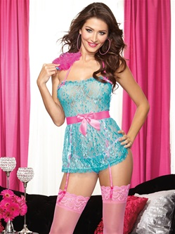 Flirty Apron Babydoll 3 PC Set With Feather Tickler