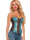 Brocade And Faux Leather Corset