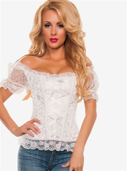 Brocade Corset With Mesh Sleeves