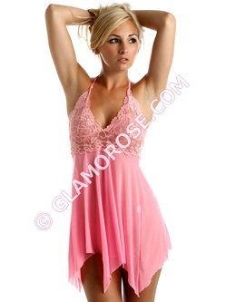 Sheer Lace Babydoll with G-String