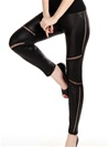 Faux Leather Lace Up Insets Stretch Leggins