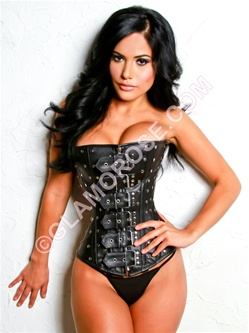 Steel Boned Genuine Leather Studded Corset