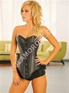 Steel Boned Genuine Leather Long Corset