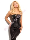 Steel Boned Genuine Leather Zipper Corset