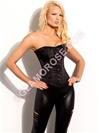 Steel Boned OverBust Corset In Black Satin