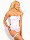 Steel Boned OverBust Corset In White Satin