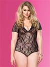 Plus Size Backless Lace Teddy