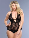 Plus Size Deep V Lace Teddy