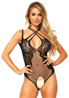 Net And Lace Crotchless Teddy