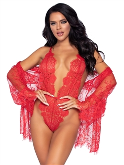 Sexy Lace Teddy And Robe 3 PC Set