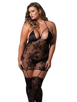 Plus Size Dress Illusion Strappy Bodystocking